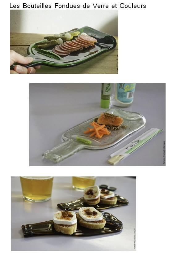 Bouteilles fondues qui servent de plateaux à apéritif,  à tapas, à suchis  ect...